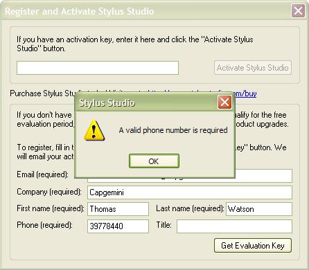 Stylus Studio registration form error