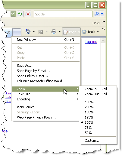 Screenshot showing the Internet Explorer 7 zoom functionality