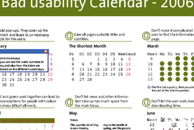 Bad usability calendar 2006 screenshot
