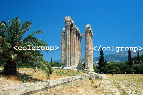 Greek temple for colgroup tag