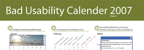 Screenshot of Danish Bad Usability Calendar (dårlig brugervenlighed kalender 2007)