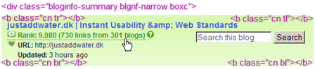 Technorati screenshot of box with rounded corners on faded background showing HTML elements